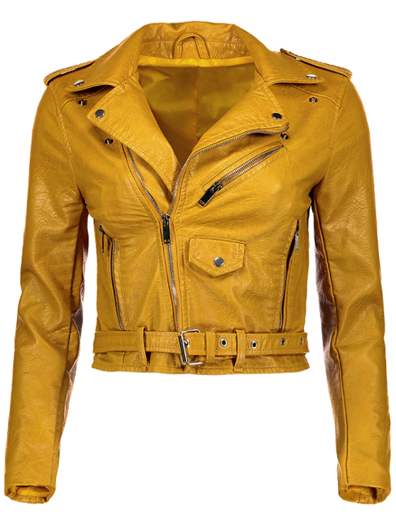 Lapel Collar Zippers Faux Leather Jacket - YELLOW L Mobile