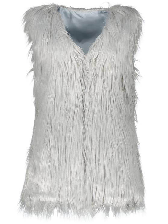 Thicken Solid Color Long Faux Fur Waistcoat - GRAY L Mobile