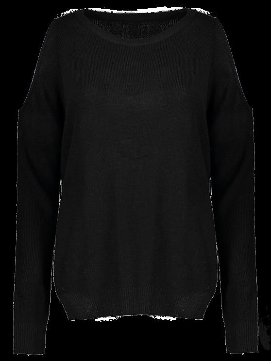 fancy Loose Cold Shoulder Knitwear - BLACK ONE SIZE