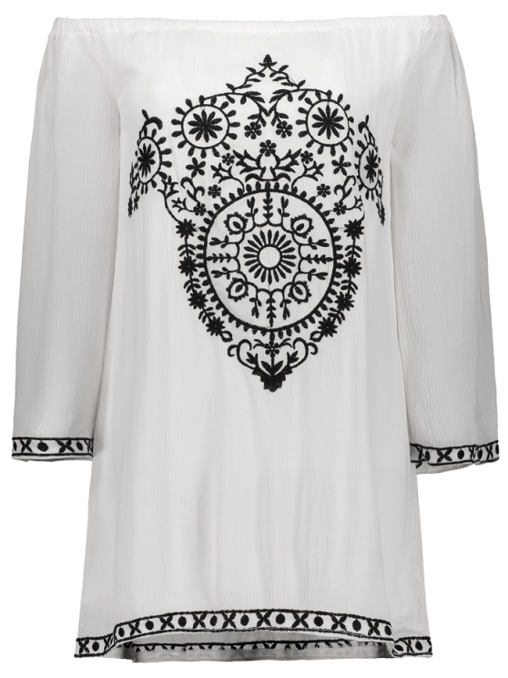 Long Sleeve Embroidery Vintage Mini Dress - WHITE M Mobile