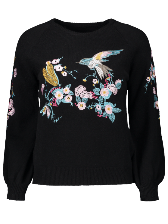 Bird Floral Embroidered Sweater - BLACK ONE SIZE Mobile