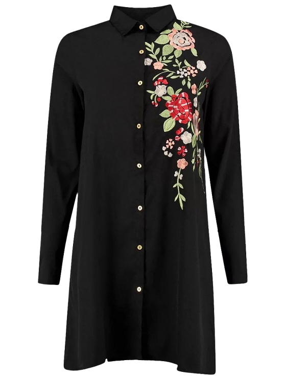 unique Floral Embroidered Long Sleeve A-Line Dress - BLACK L