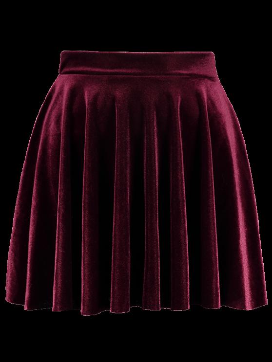Velvet A Line Mini Skirt - BURGUNDY M Mobile