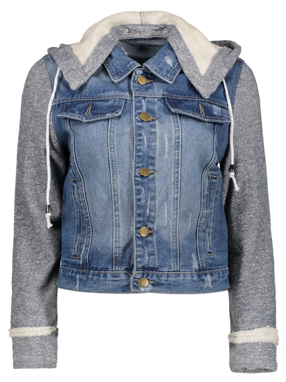 new Hooded Denim Jacket - BLUE+GRAY M