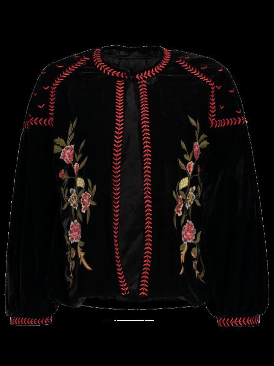 Veste en velours brodée ornée de perles à style ethnique - Noir S