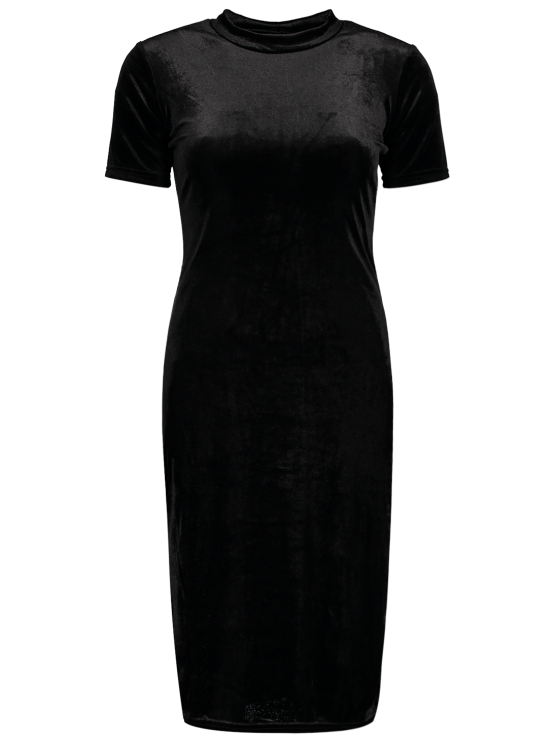 Short Sleeve Velvet Dress - BLACK S Mobile