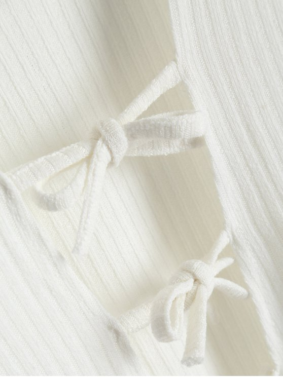 Ribbed Knit Tie Front Plunge Bodysuit - WHITE S Mobile