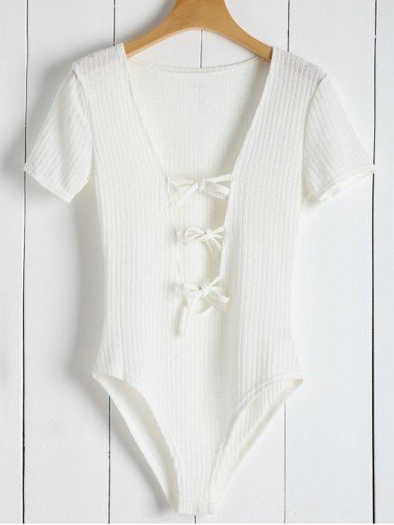 Ribbed Knit Tie avant Plunge Bodysuit - Blanc M