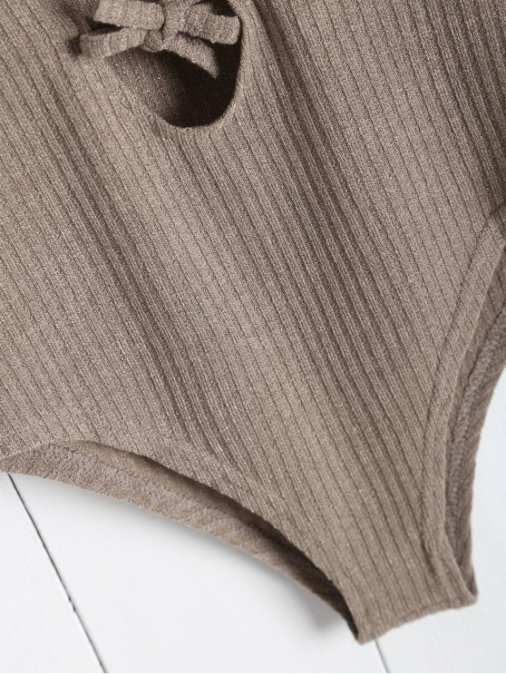 Ribbed Knit Tie Front Plunge Bodysuit - LIGHT BROWN S Mobile