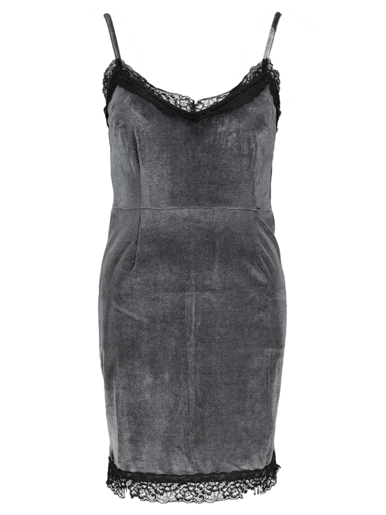 Lace Panel Pleuche Mini Cami Dress - GRAY M Mobile