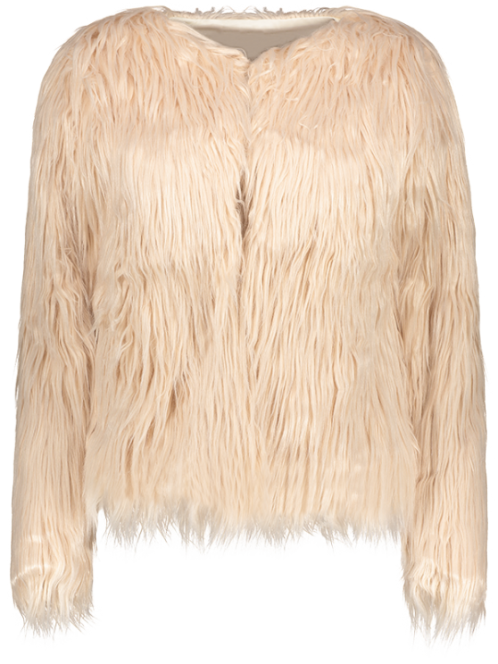 Fluffy Faux Fur Coat - LIGHT PINK XL Mobile