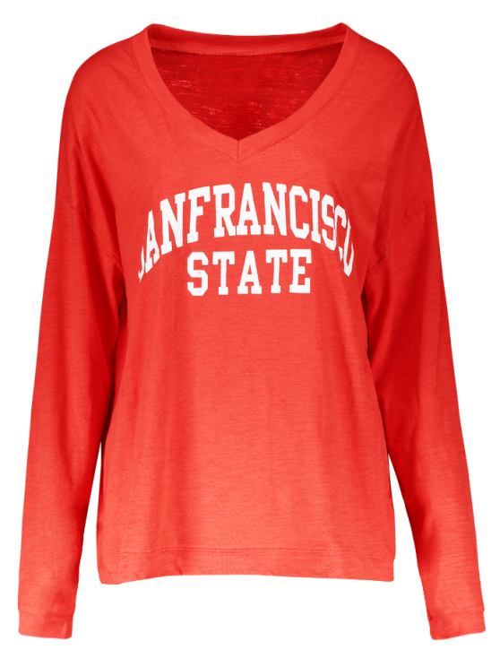 V Neck Sanfrancisco State T-Shirt - RED ONE SIZE Mobile