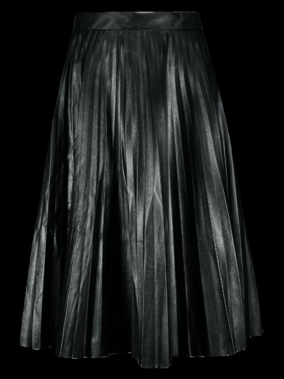 Cuero de la PU del acordeón plisado de la falda - Negro L