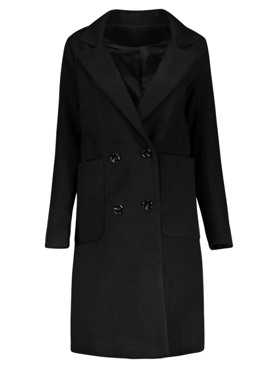 Double Breasted Wool Blend Midi Coat - BLACK M Mobile