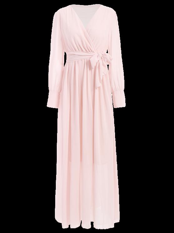 Belt Maxi Surplice Dress - PINK S Mobile
