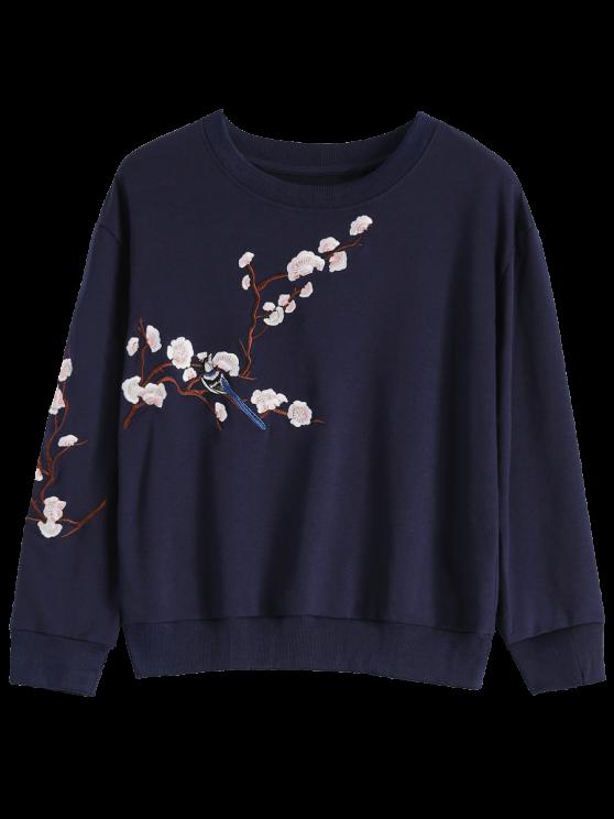 Titoni bordado cuello redondo de la camiseta - Azul Purpúreo L