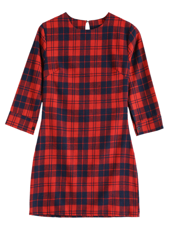 3/4 Sleeve Mini Plaid Casual Dress - RED M Mobile