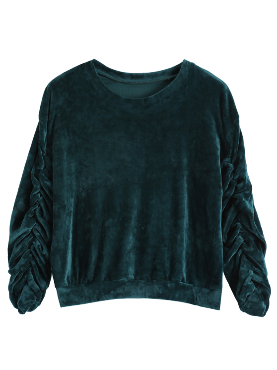 Drop Shoulder Oversized Velvet Sweatshirt - BLACKISH GREEN ONE SIZE Mobile