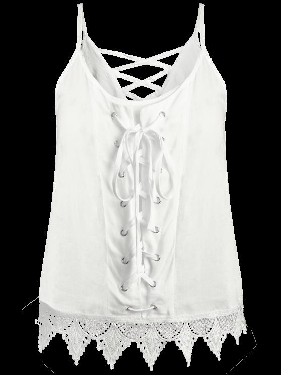 White Lace Splicing Spaghetti Straps Tank Top - WHITE L Mobile
