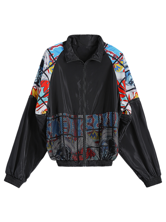 Mesh Detail Embroidered Jacket - BLACK ONE SIZE Mobile