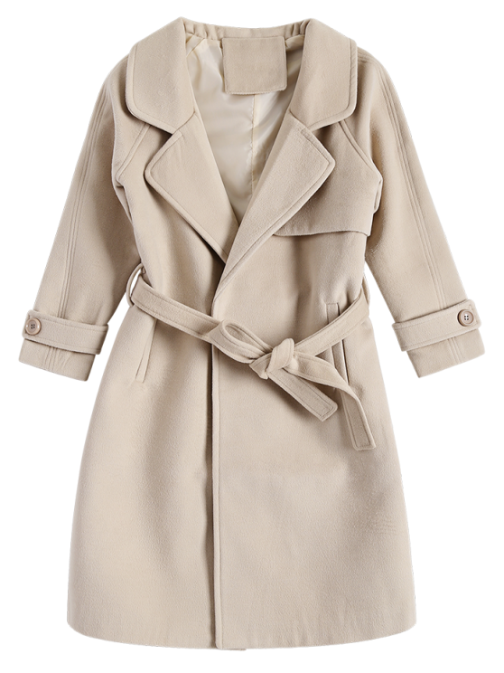 Woolen Lapel Collar Belted Coat - KHAKI S Mobile