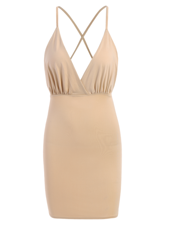 Women Spaghetti Strap Backless Club Dress - KHAKI L Mobile