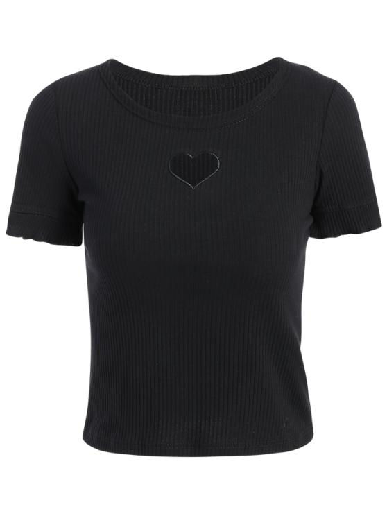 shop Cut Out Round Neck Short Sleeve Slimming T-Shirt - BLACK S