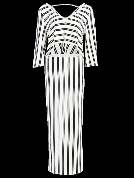 Striped V-Neck T-Shirt and High Slit Skirt Twinset - WHITE M Mobile