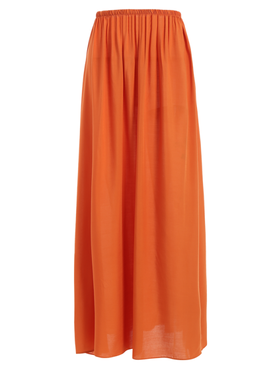 Solid Color High Waisted Long Skirt - ORANGE M Mobile