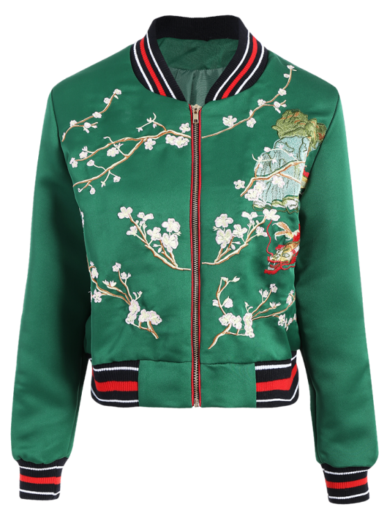 shops Flower Embroidery Bomber Jacket - GREEN S