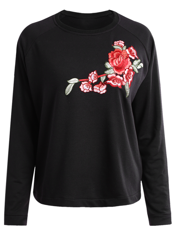 ladies Floral Applique Pullover Sweatshirt - CADETBLUE S