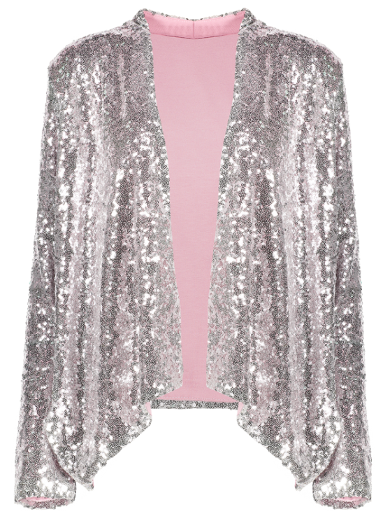 Asymmetric Long Sleeve Sequins Coat - SILVER M Mobile