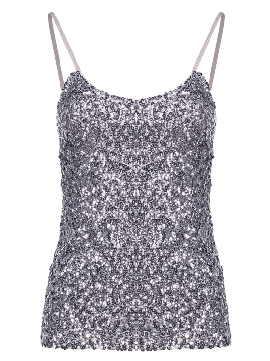 buy Sequin Solid Color Spaghetti Straps Tank Top - SILVER ONE SIZE(FIT SIZE XS TO M)