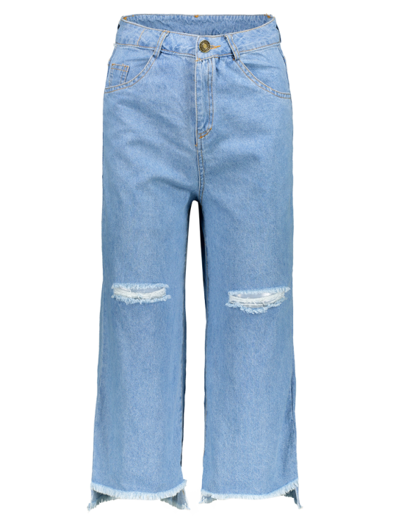 Broken Hole High Waist Wide Leg Jeans - LIGHT BLUE L Mobile