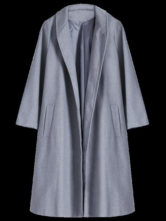 Shawl Neck Gray Wool Coat - GRAY S Mobile