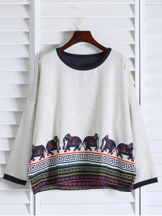 Imprimer ethnique épaule Drop Sweatshirt - Blanc TAILLE MOYENNE