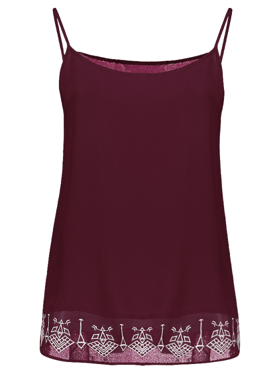 hot Embroidery Spaghetti Straps Tank Top - WINE RED S
