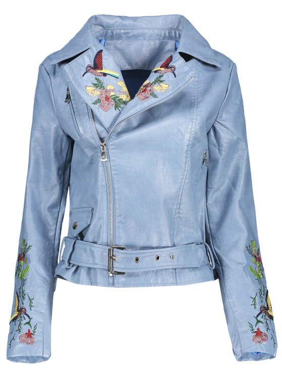 buy Embroidered Lapel Collar Faux Leather Jacket - AZURE M