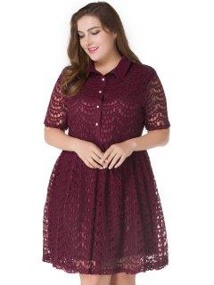 Plus Size Lace A Line Skater Shirt Dress - Deep Red 4xl