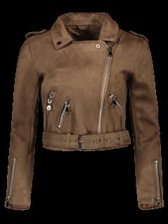 Lapel Zipper Pockets Suede Jacket - Khaki S