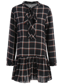 Bow Tie Collar Plaid Dress - Checked M