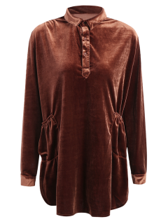 Mini Velvet Tunic Dress - Brown M