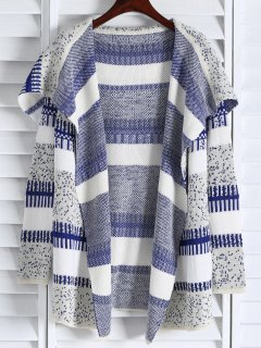 Open Front Jacquard Long Cardigan - Blue And White
