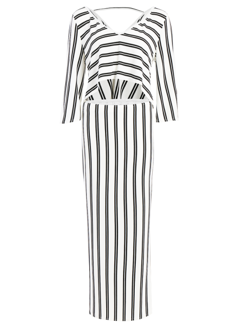 new Striped V-Neck T-Shirt and High Slit Skirt Twinset - WHITE M Mobile