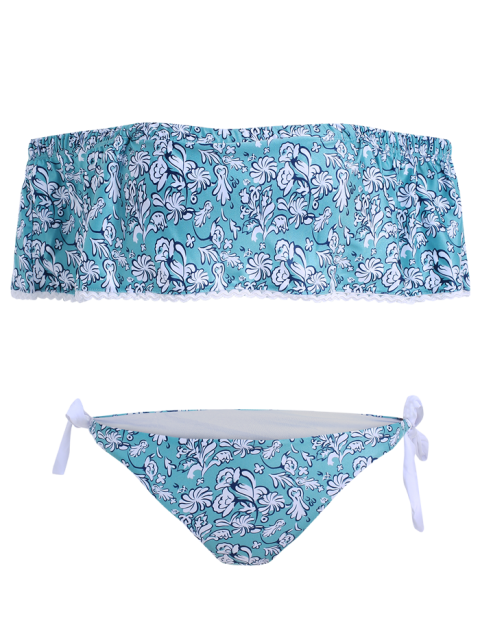 outfit Off Shoulder Padded Tiny Floral Bikini - BLUE GREEN S Mobile
