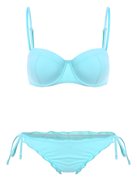 unique Cami String Ruffles Bikini Set - LIGHT BLUE M Mobile