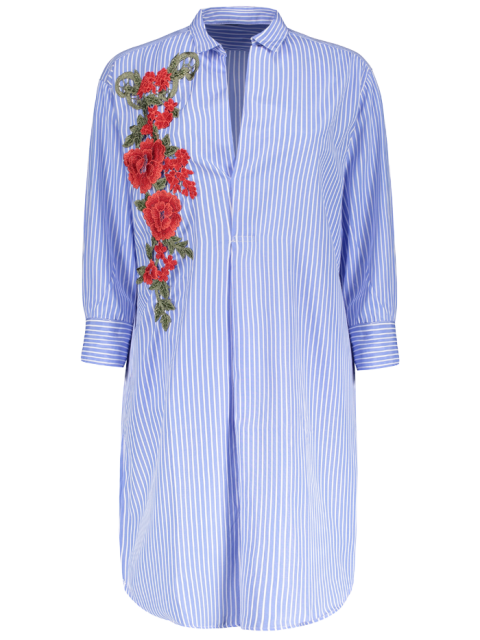 shops Striped Floral Embroidered Tunic Shirt Dress - BLUE M Mobile