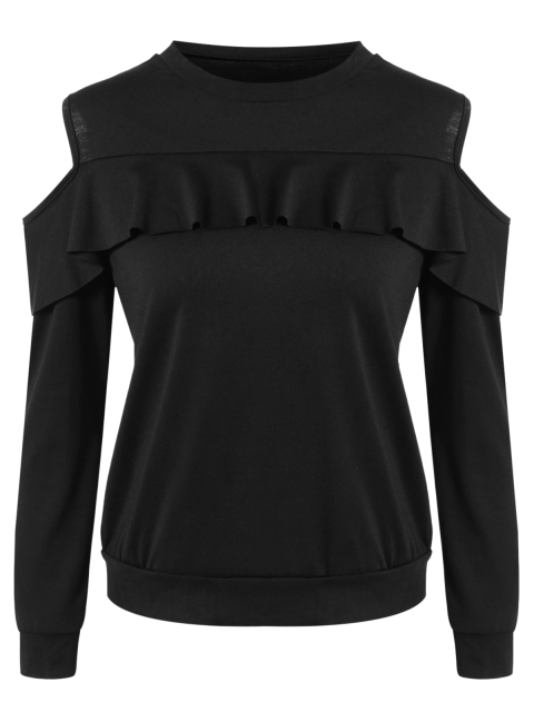 women's Cold Shoulder Ruffles Sweatshirt - BLACK S Mobile