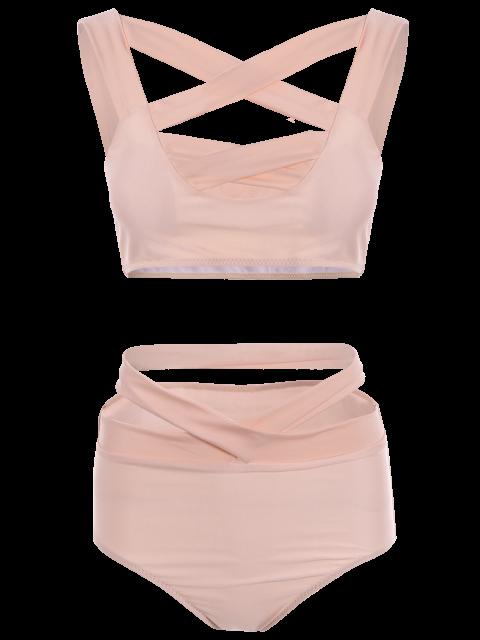latest Crossover Cutout Bikini Set - PINK L Mobile