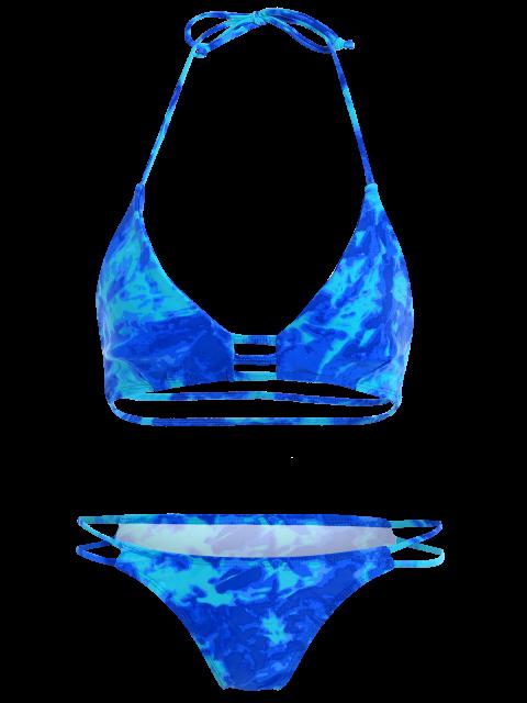 new High Cut Lattice Tie Dye Bathing Suit - BLUE L Mobile